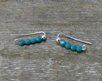 Turquoise Bead Ear Climbers, Beaded Ear Climber