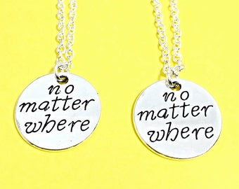 Set of 2, 925 Sterling Silver,No matter where necklace set of 2, best friend necklaces for 2, friendship jewelry, distance friends, 2 bff