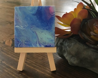 2x2 canvas, dirty pour with easel, acrylic, gift