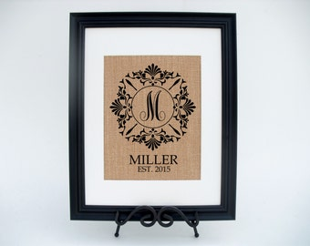 Framed Burlap Print Personalized Fabric Art Wall Decor - Monogram Family Name and Established Date (#1062FB)