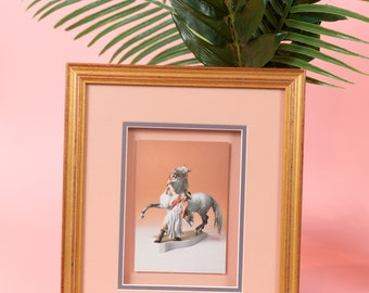 Vintage Framed photo of man with horse - Pink and Gold Framed Artwork - 4x6 photography