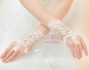 Wedding Gloves, Bridal Gloves, Short Gloves, Beaded Gloves, French Lace Gloves, Fingerless Gloves, Gloves, Wedding Accessory BG0005