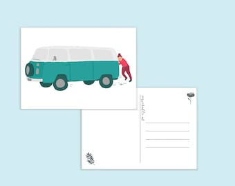 Card with Volkswagen van/camper
