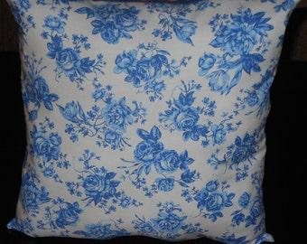 Blue Rose Pillow, 14 X 14  Decorative Pillow