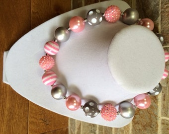 Bubblegum Necklace, Pink, Gray, Chunky Bubblegum Necklace, Chunky Necklace, Girls Necklace, Gumball Necklace, Photo Prop, Chunky Beads