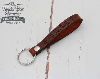 Keychain leather longitude latitude engraved Key ring Personalized Leather key fob custom leather keyring key chain key ring