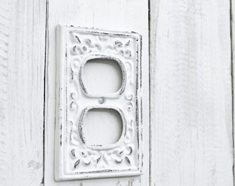 Antique White Outlet Cover- Cast Iron-Fleur De Lis-Cottage Chic-Shabby Chic Iron White-Lighting-Kitchen-Outlet Cover-