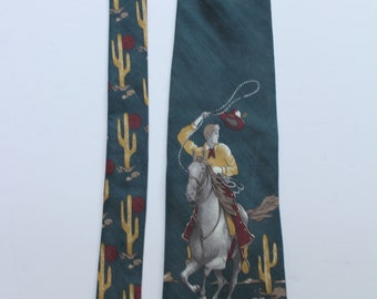Vintage Gino Pompeii Cowboy Riding in The Desert Silk Necktie 1990s