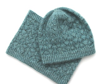 Azurine Hat and Cowl PDF Knitting Pattern Download