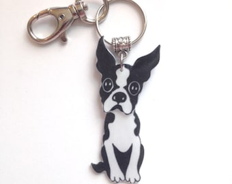 Handcrafted Plastic Boston Terrier Dog 3D Keychain Purse Charm