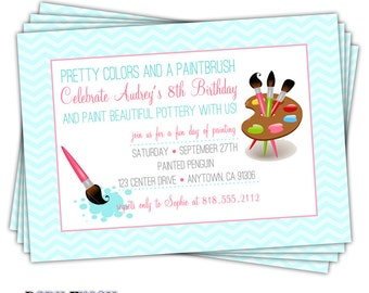 Pottery painting invitation painting party birthday invite pottery painting invitation painting party birthday invite pottery art party invitation painting party printed on cardstock stopboris Images