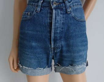 High waisted shorts, vintage 80s blue denim jean shorts, cut off cuffed frayed hotpants, X S Small waist 26