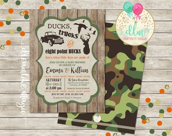 Ducks Trucks Bucks, BABY BOY Shower Invitation, Boys are made of, Printable Invite, Rustic Wood Camo, Southern Baby Shower, Printable DIY