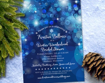 Snowflake Blue Bokeh Winter Bridal Wedding Shower Invitation; Printable, Evite or Printed (US Only) Invitation
