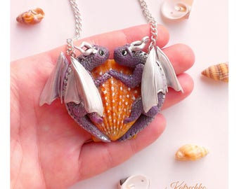 Dragons pendant - Polymer clay dragons - Dragon necklace - Dragon figurine - Dragon age - Skyrim - Shell pendant - free shipping