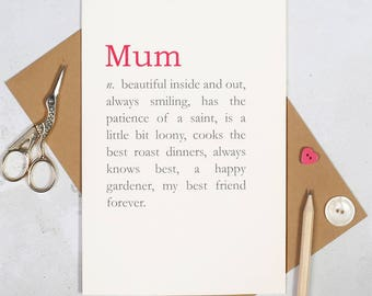 Reasons You're Wonderful Personalised Mother's Day Card - mum greeting card - card for granny - i love you mum greeting card - mummy card-