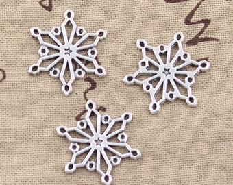 6 Snowflake Connector Charm Finding 25mm x 25mm - Antique Silver Plated - Jewelry Making