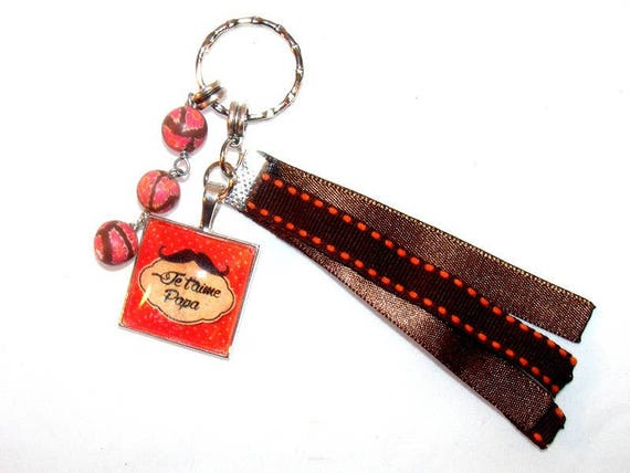 Dad, Daddy, OOAK DollyDoo accessory Keychain bag charm bag, handmade, gift, Dad, Brown, Pearl, cabochon