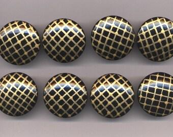 BLACK & GOLD - Dresser Drawer KNOBS / Pulls - Set of 8