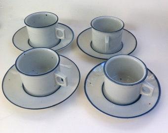 DANSK Blue Mist Cups Saucers Designed by Niels Refsgaard MID CENTURY