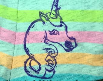 Unicorn Undies - rainbow boyshorts (hand printed)