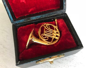 Miniature French Horn With Case, Miniature Music, Dollhouse Accessory, Decor, Mini Instrument, Gold Horn