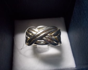 8 band puzzle ring, sterling size 8.5