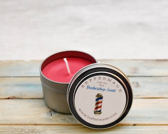 Natural Soy Candle, Barbershop Scented Soy Candle, 4 oz soy container candle, Shave and a Haircut scent, Smells like Grandpa