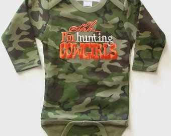 Camouflage Baby Bodysuit with Hunting Cowgirl's, camo bodysuit, camo baby boy, camo cowboy outfit, baby shower gift