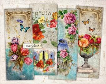 Stories Floral - set of 6 bookmarks - digital collage - Printable Download