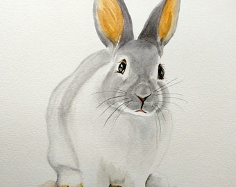 ORIGINAL RABBIT Watercolor Painting, Bunny Nursery Artwork, Woodland Animal