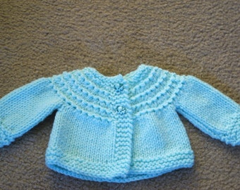 Hand Knitted - Teal Baby Sweater with Elephant Buttons
