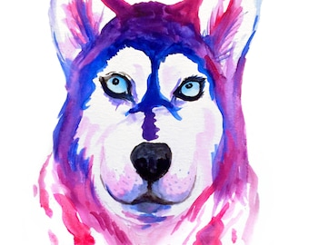 Colorful Siberian Husky Print Digital Download