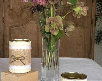 Recycled cans - Customized Pots - burlap & lace