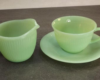 FireKing Jadeite Jane Ray creamer and cup and saucer