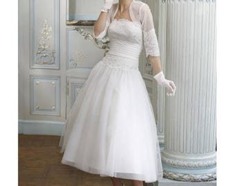 Vintage early 50's tulle bridal dress vintage 50s - custom wedding dress style and handmade white lace
