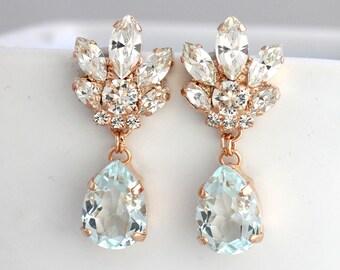 Bridal Chandeliers, Aquamarine Chandelier, Blue Sky Earrings, Bridal Earrings, Rose Gold Bridal Earrings, Bridal light Blue Drop Earrings.