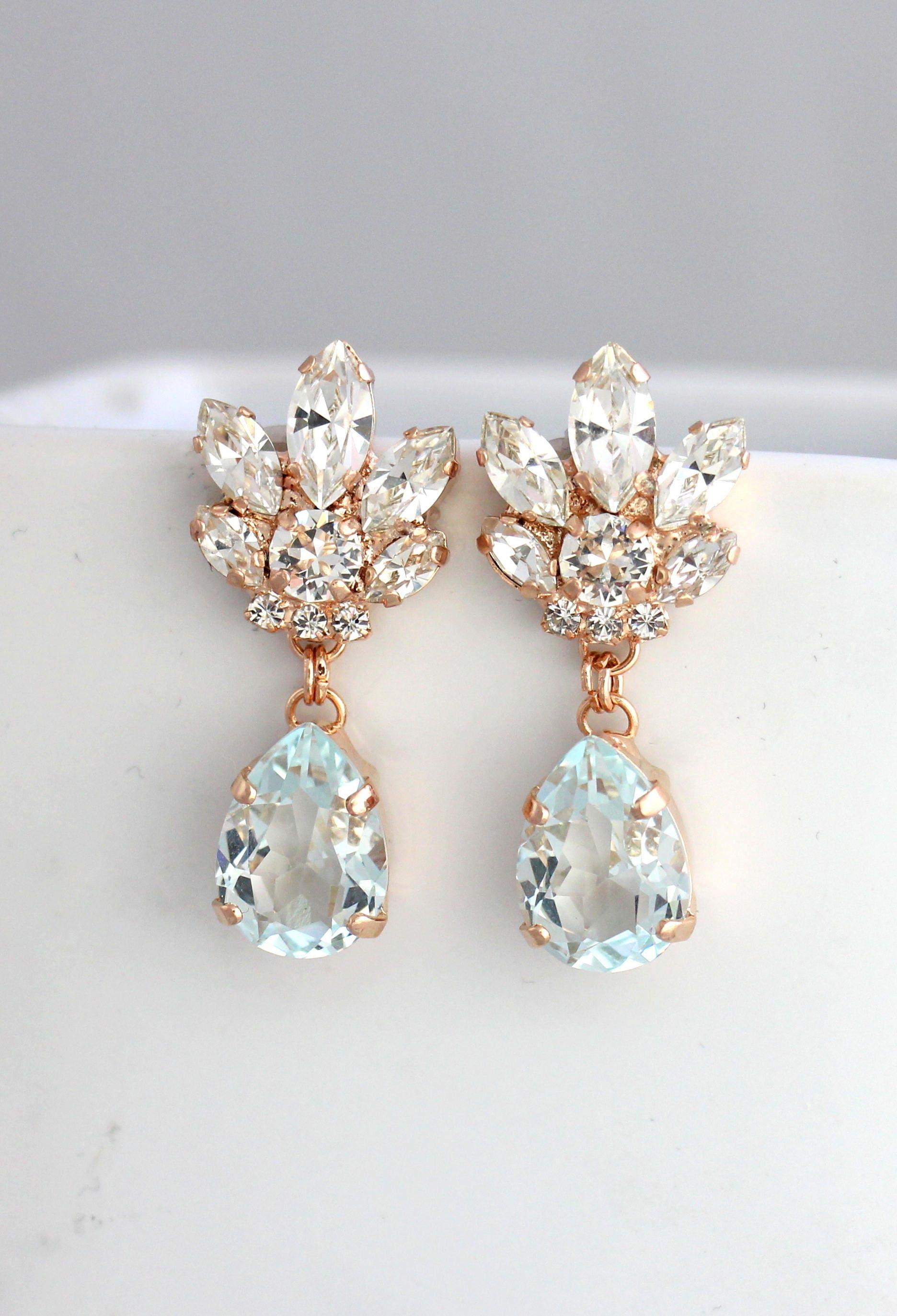 Bridal Chandeliers Aquamarine Chandelier Blue Sky Earrings