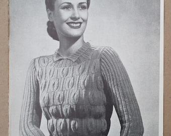 Vintage 1930s 1940s Knitting Pattern Women's Sweater Jumper Tulip Stitch Design 30s 40s original pattern Weldons Leaflet No. 240 WW2 WWII