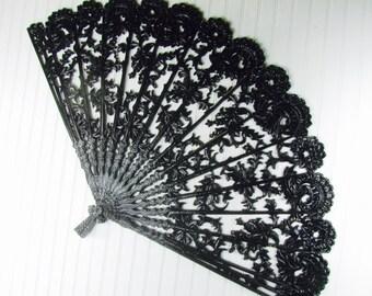 Syroco fan,shabby chic decor,wall fan, vintage fan,black fan,wall decor,home decor,