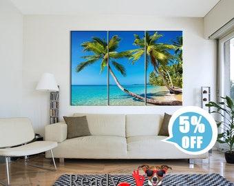 Palm tree on the beach, Tropical print, Tropical wall art, Tropical beach art, Tropical beach print, Palm, Palm tree print, Blue sea