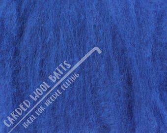 Denim Blue Colour Carded Wool Batts For Needle Felting 5g 10g 20g | 100% Sheep Wool | Needle Felting Wool Bright Blue | The Happy Felt Club
