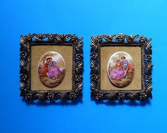2 Fragonard Porcelain Italian Pictures Brass Floral Frames on Velvet E.A.RIBA Co #56