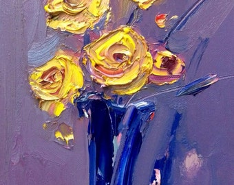 Yellow  flowers oil painting on cardboard