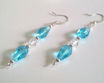 Blue Faceted Teardrop Beaded Earrings, Long Dangle Earrings, Blue Glass Beaded Jewelry, Faceted Crystal Jewelry