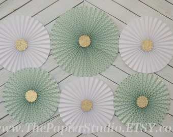 Mint and Gold, set of Six (6) Paper Rosettes