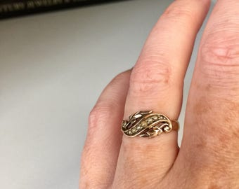 REDUCED - Antique Edwardian 18k gold and seed pearl scroll work leaf ring, Anniversary, Wedding, Bridal, Gift, Jewelry, Jewellery, Love