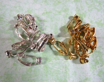 5pr Silver or Gold Tone Pierced to Clip Earring Converters (B326g)