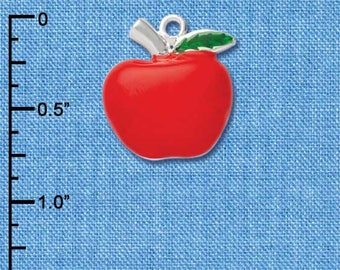 C1044 tlf - Large Apple - Silver Plated Charm - Enamel, Red Apple, Teacher Charm, Jewelry Making, Apple Charms, QUANTITY DISCOUNTS OPTIONS