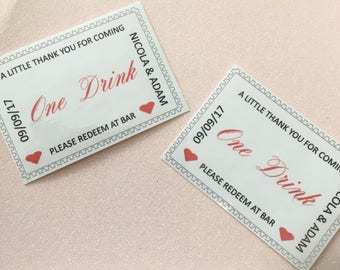 Hand crafted Personalisd First Drink Vouchers Pack of 30